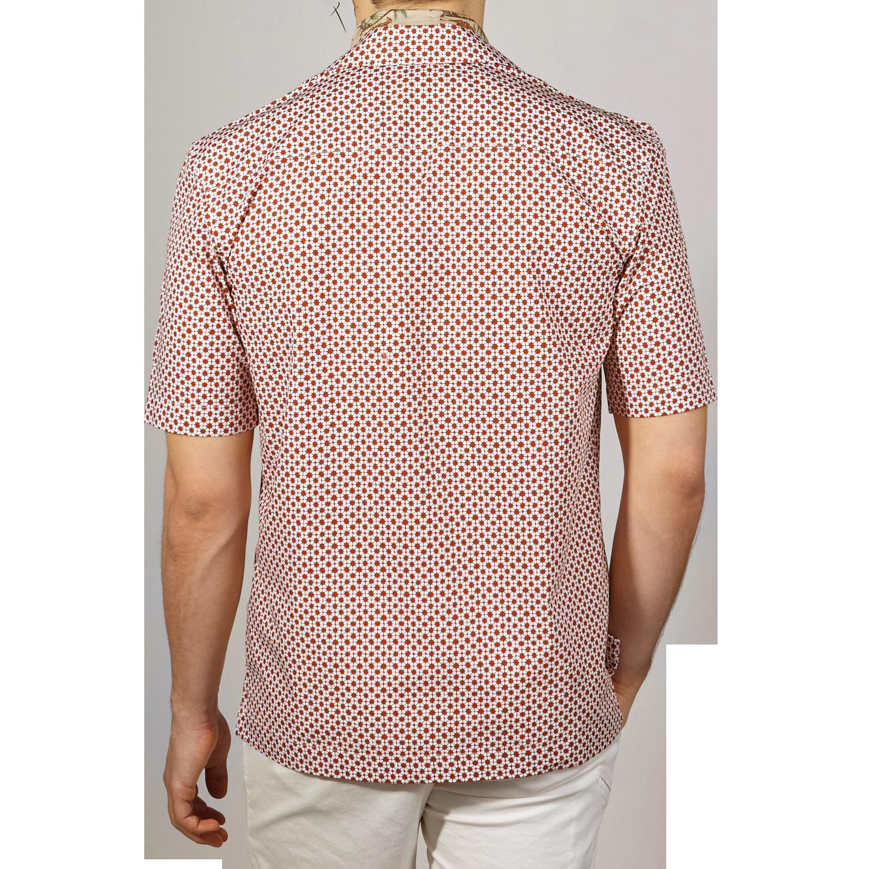 Sunspel Red Madder Printed Shibori Flower Camp Collar Shirt Back