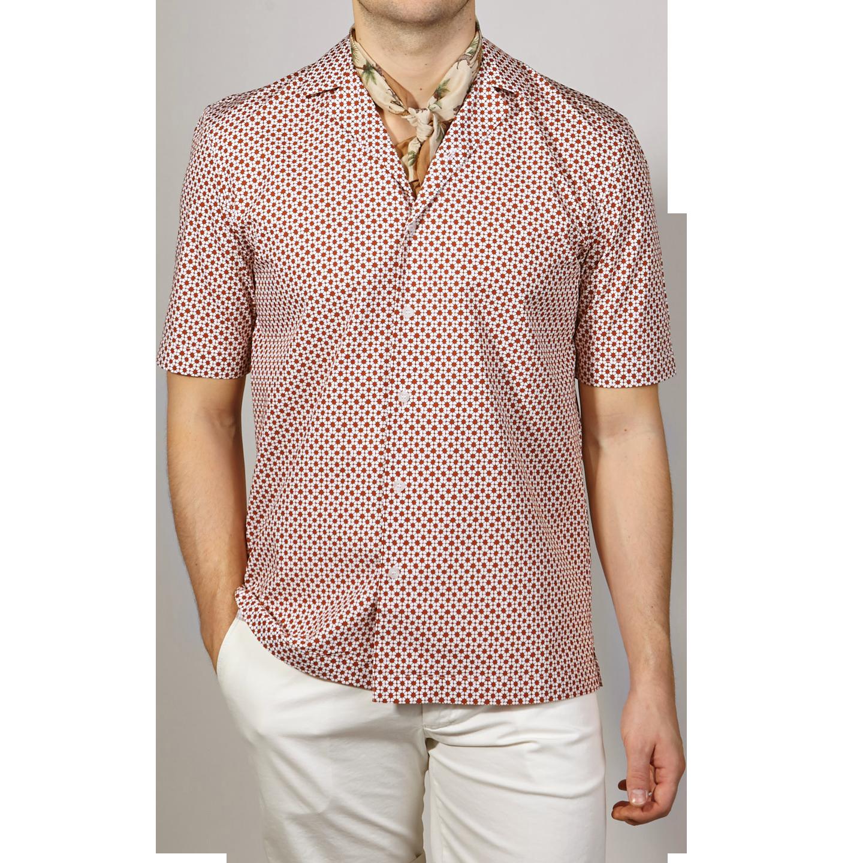 Sunspel Red Madder Printed Shibori Flower Camp Collar Shirt Front