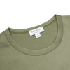 Sunspel Rosemary Green Crew Neck T-Shirt Collar
