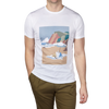 Sunspel White Printed Crew Neck T-Shirt Front