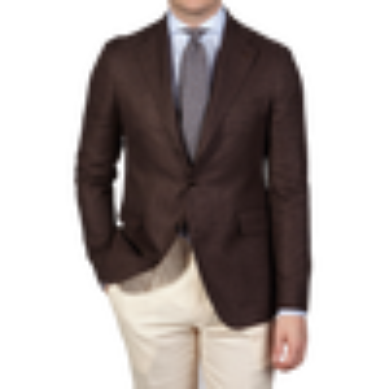 Tagliatore Brown Wool Linen Hopsack Blazer Front