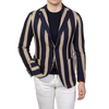 Tagliatore Navy Beige Striped Cotton Blazer Front