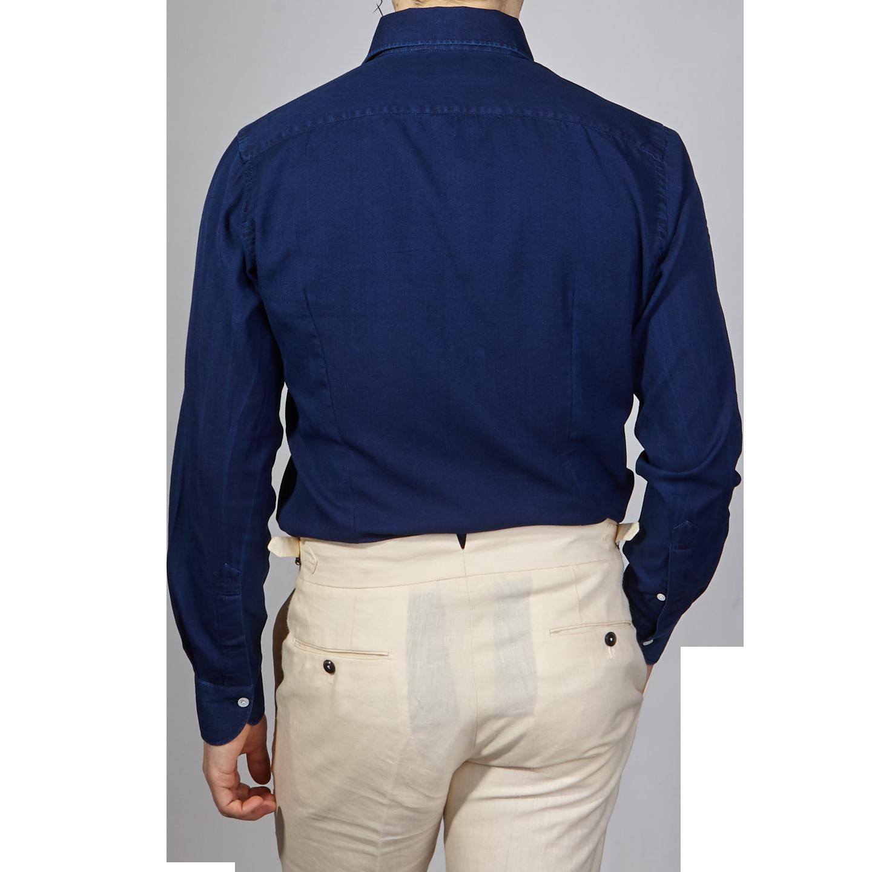 100Hands Blue Washed Denim Black Line Popover Shirt Back