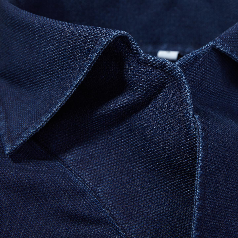 100Hands Blue Washed Denim Black Line Popover Shirt Collar