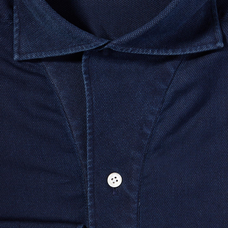 100Hands Blue Washed Denim Black Line Popover Shirt Fabric