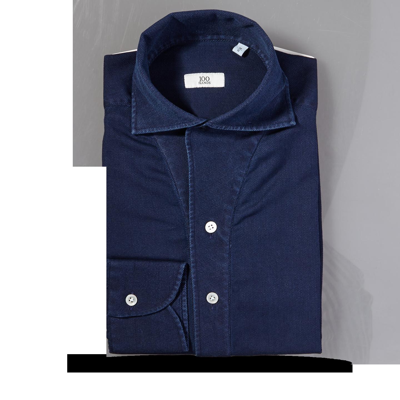 100Hands Blue Washed Denim Black Line Popover Shirt Feature