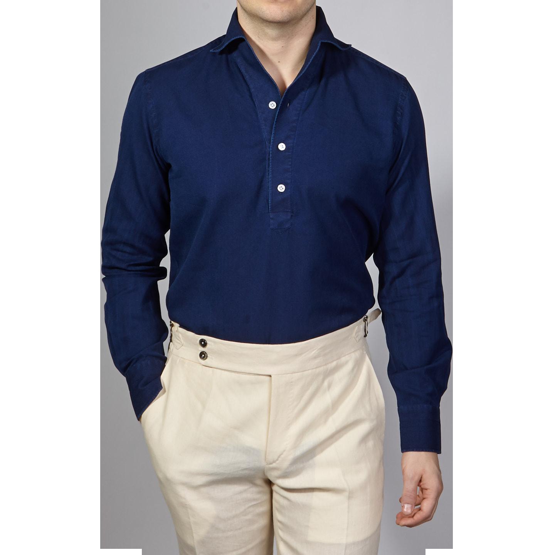 100Hands Blue Washed Denim Black Line Popover Shirt Front