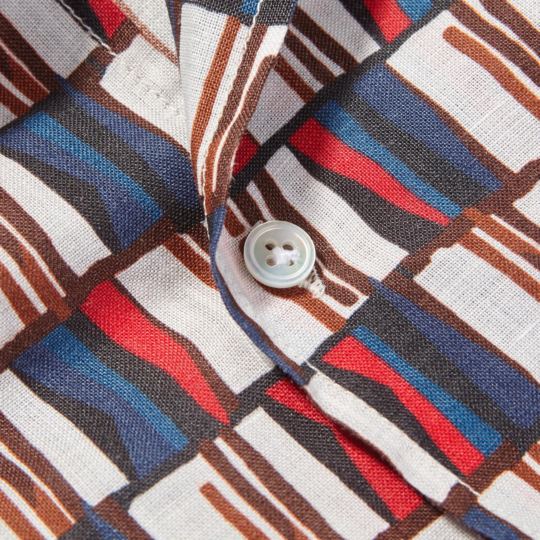 Bagutta White Printed Cotton Bowling Collar Shirt Button