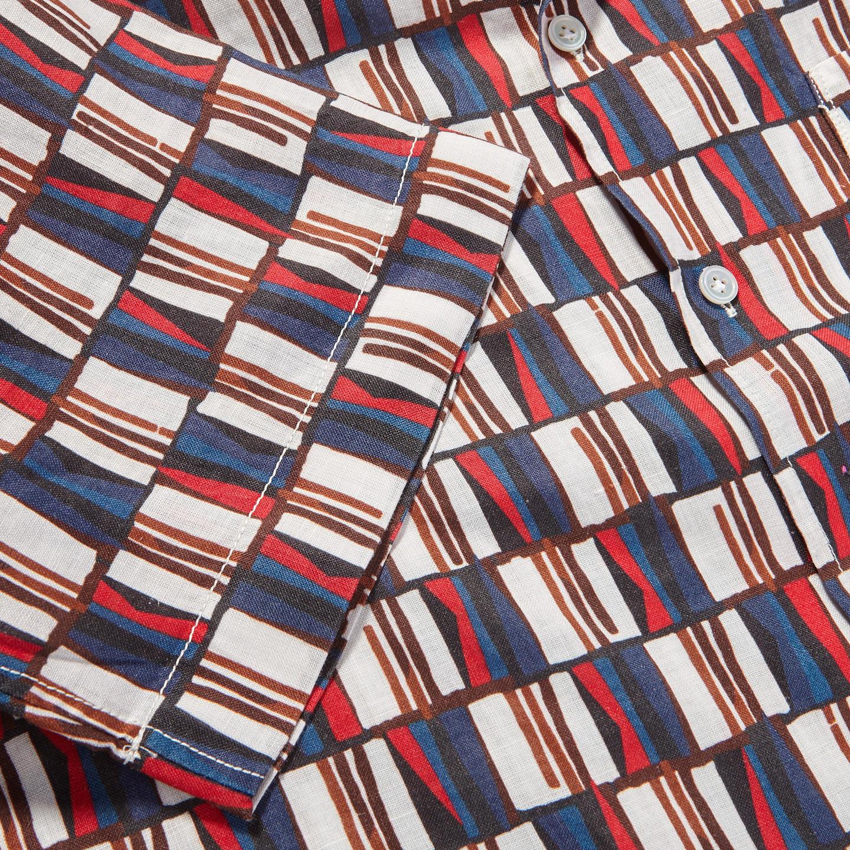 Bagutta White Printed Cotton Bowling Collar Shirt Cuff