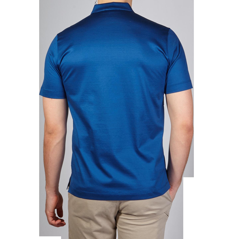 Canali Blue Cotton Jersey Mock Zip Polo Back