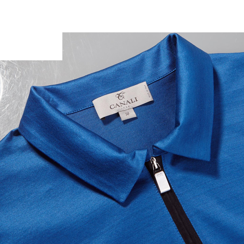 Canali Blue Cotton Jersey Mock Zip Polo Collar