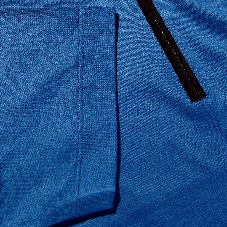 Canali Blue Cotton Jersey Mock Zip Polo Cuff