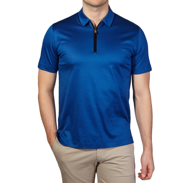 Canali Blue Cotton Jersey Mock Zip Polo Front