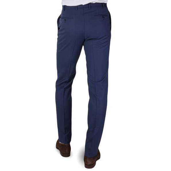 Canali Blue Wool Suit Trousers Back