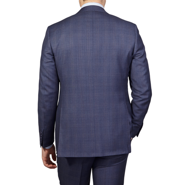 Canali Duve Blue and Brown Prince of Wales Wool Suit Back