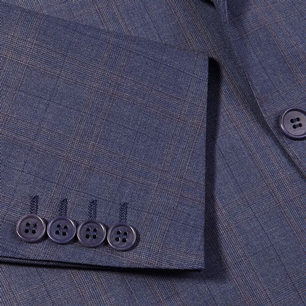 Canali Duve Blue and Brown Prince of Wales Wool Suit Cuff