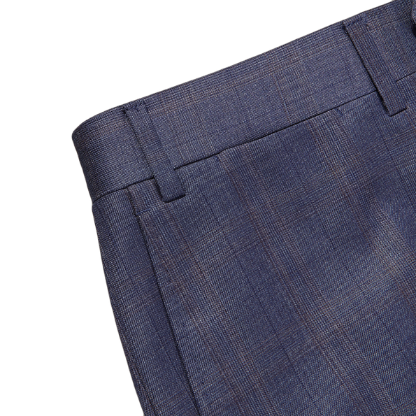 Canali Duve Blue and Brown Prince of Wales Wool Suit Edge