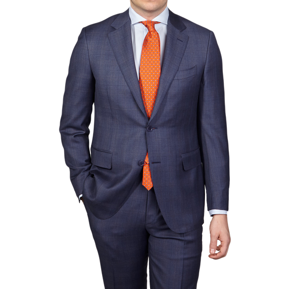 Canali Duve Blue and Brown Prince of Wales Wool Suit Front