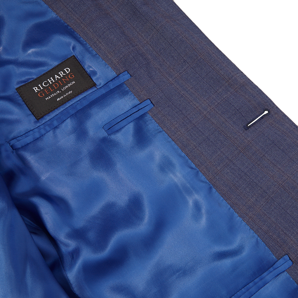 Canali Duve Blue and Brown Prince of Wales Wool Suit Inside