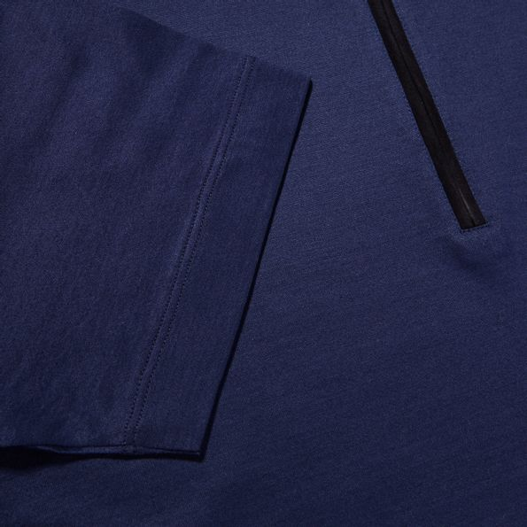 Canali Navy Cotton Jersey Mock Zip Polo Edge