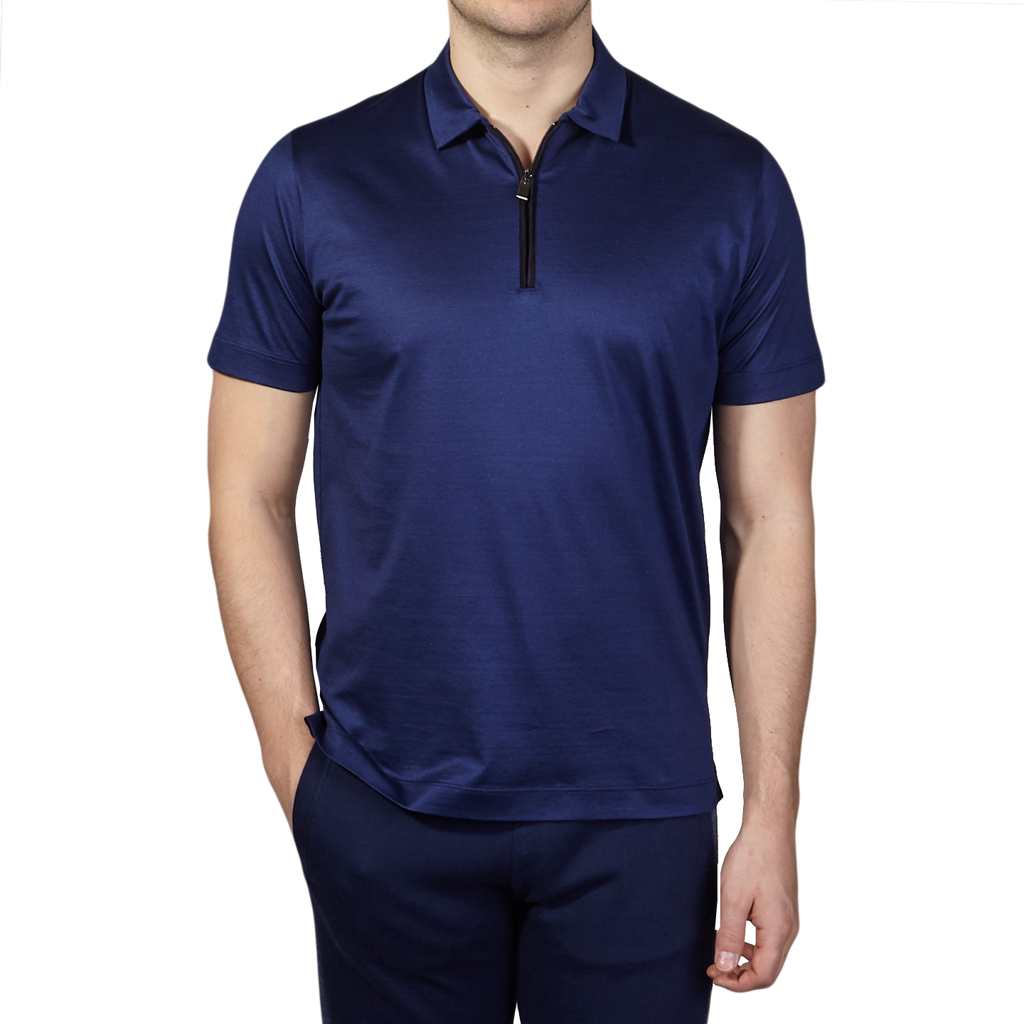 Canali Navy Cotton Jersey Mock Zip Polo Front