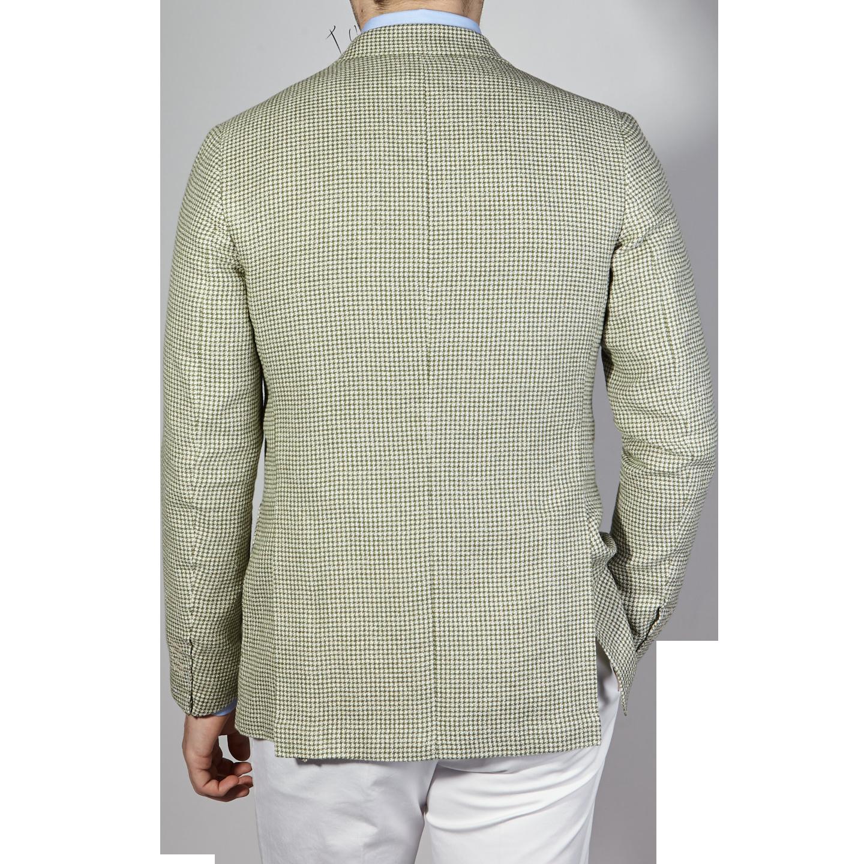 De Petrillo Green Houndstooth Linen Cotton Blazer Back