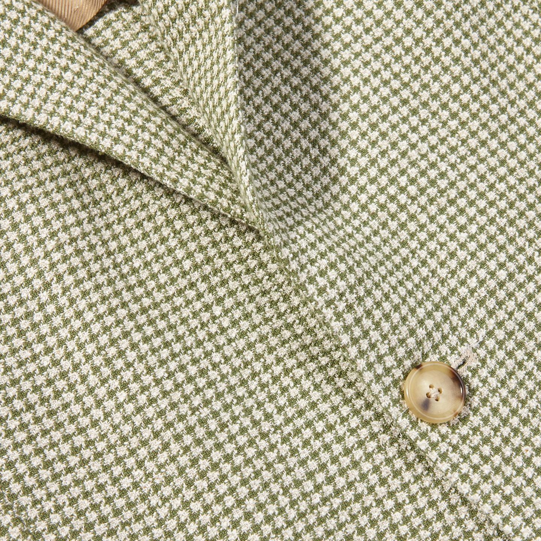 De Petrillo Green Houndstooth Linen Cotton Blazer Closed