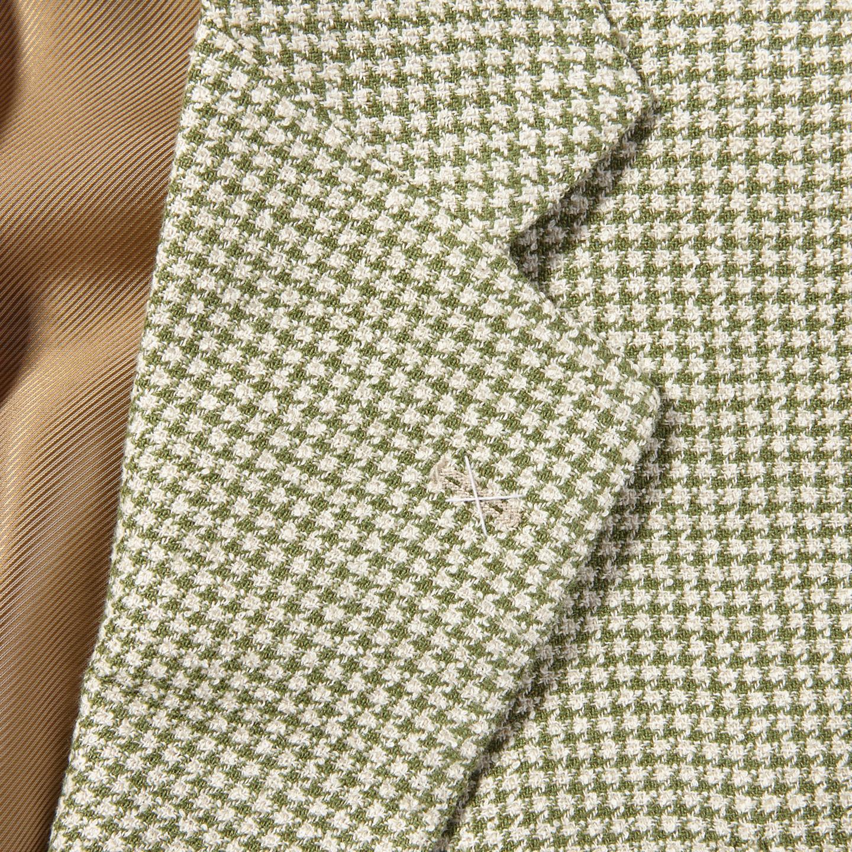 De Petrillo Green Houndstooth Linen Cotton Blazer Collar