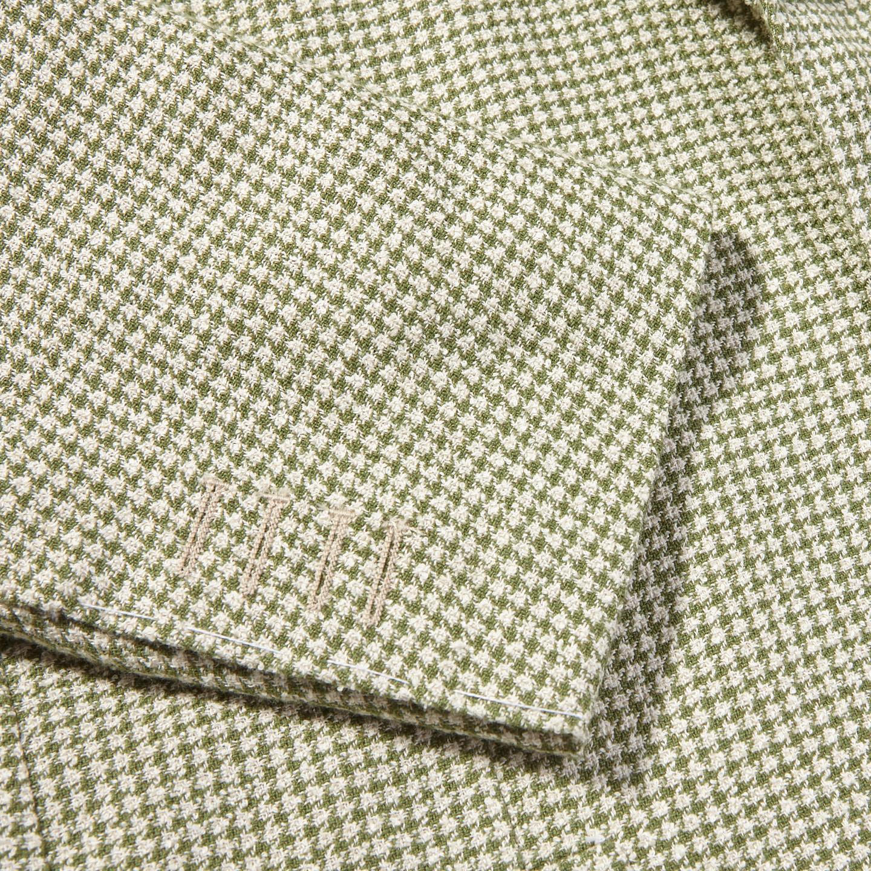 De Petrillo Green Houndstooth Linen Cotton Blazer Cuff