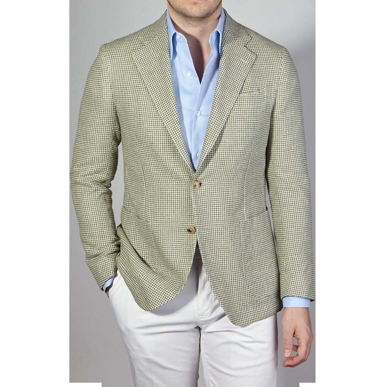De Petrillo Green Houndstooth Linen Cotton Blazer Front
