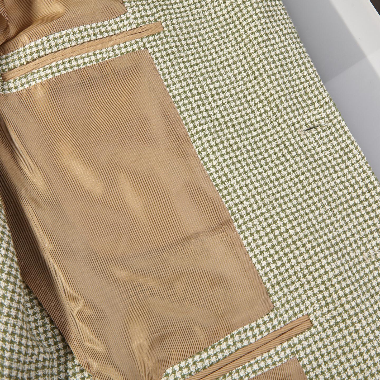 De Petrillo Green Houndstooth Linen Cotton Blazer Inside