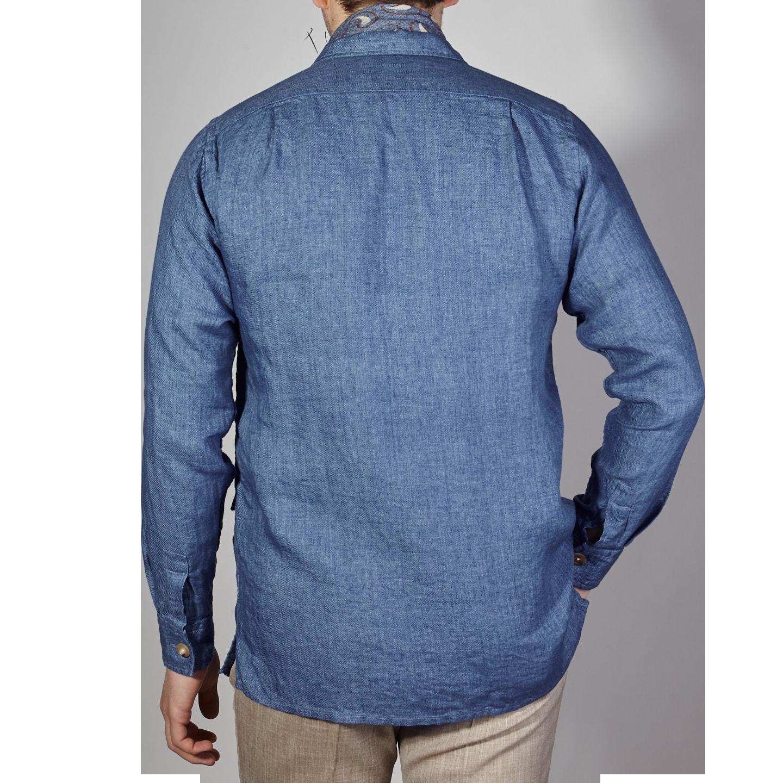 Drake's Blue Blue Linen Workwear Overshirt Back