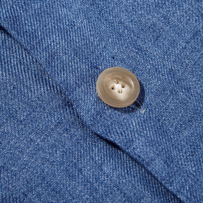 Drake's Blue Blue Linen Workwear Overshirt Button