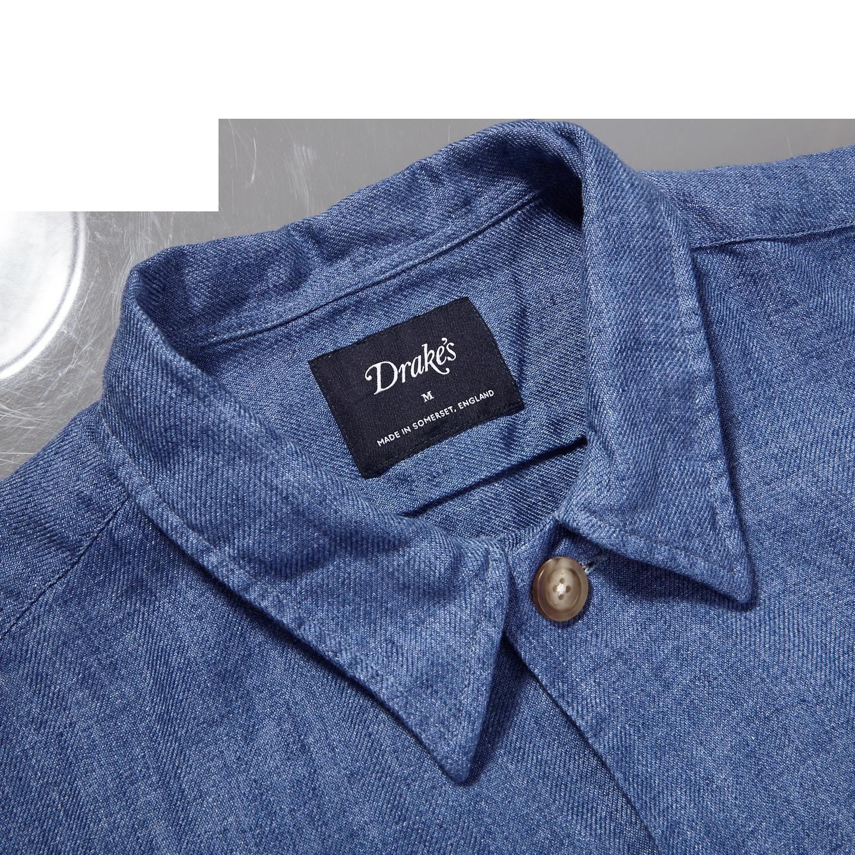 Drake's Blue Blue Linen Workwear Overshirt Collar