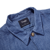 Drake's Blue Blue Linen Workwear Overshirt Collar