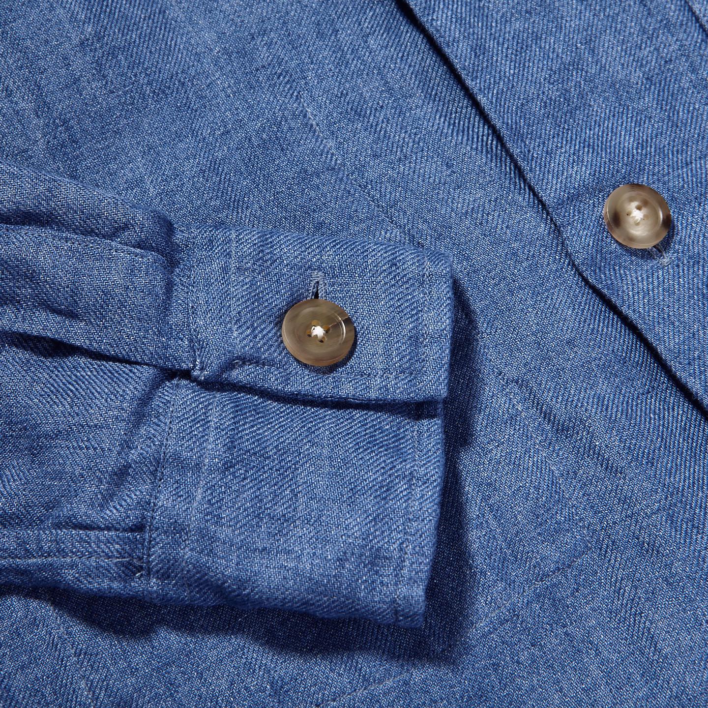 Drake's Blue Blue Linen Workwear Overshirt Cuff
