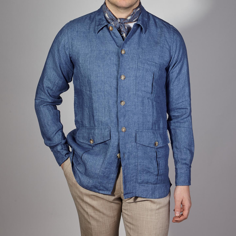Drake's Blue Blue Linen Workwear Overshirt Front