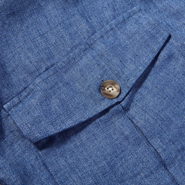 Drake's Blue Blue Linen Workwear Overshirt Pocket
