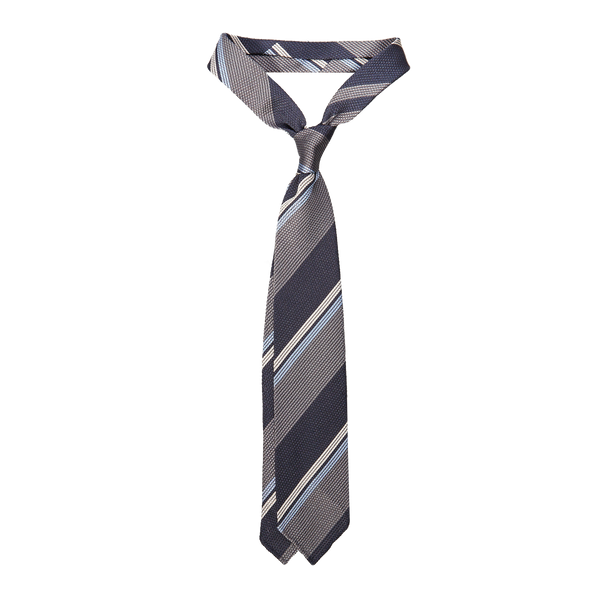 Drake's Striped Grey and Navy Grenadine Tie Feature
