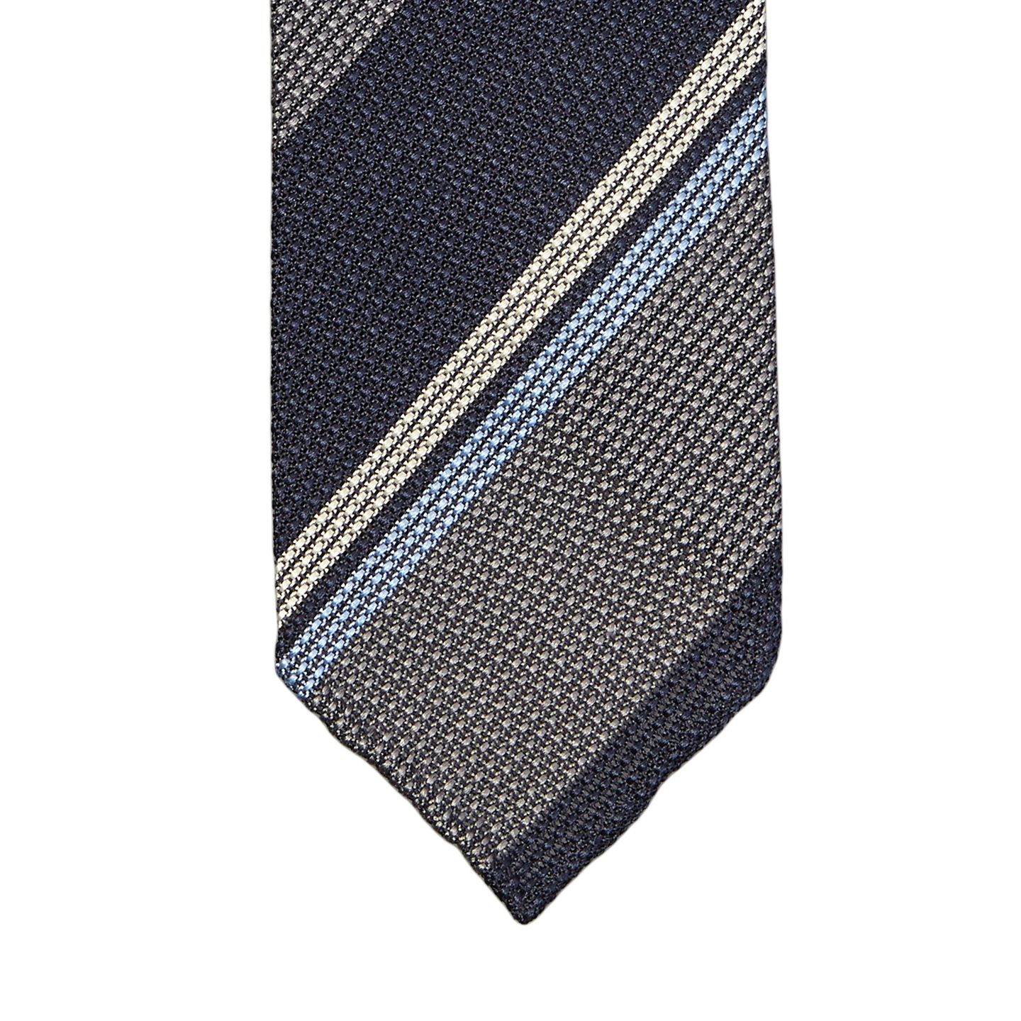 Drake's Striped Grey and Navy Grenadine Tie Tip