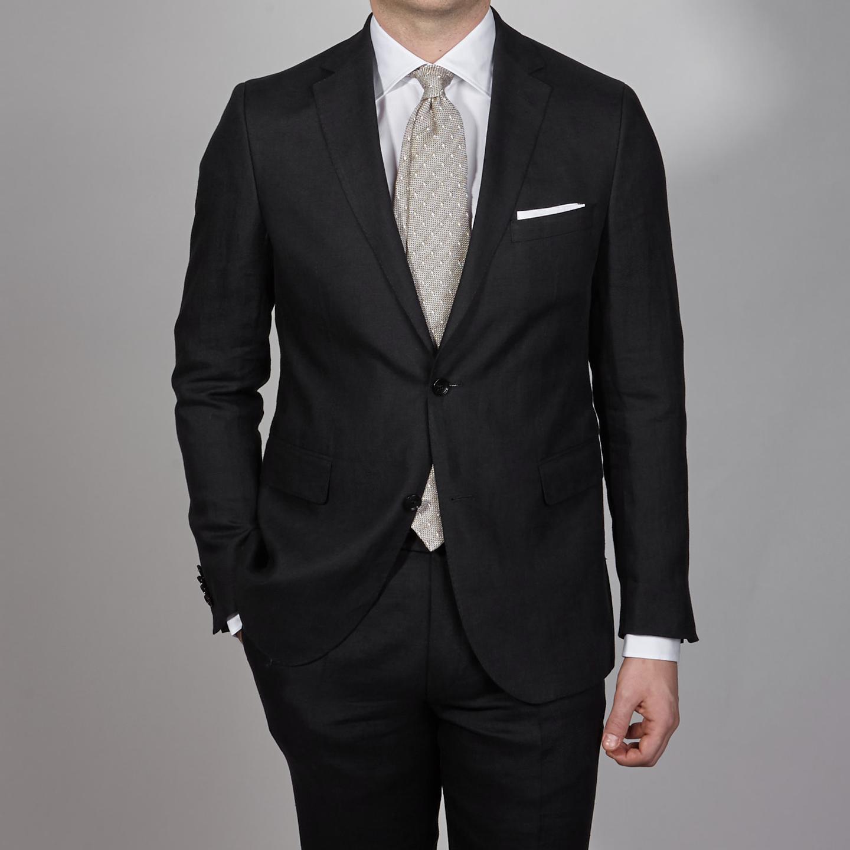 Eduard Dressler Black Pure Linen Summer Suit Front