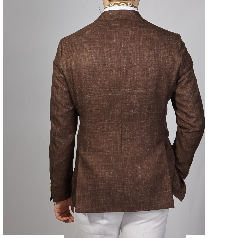 Eduard Dressler Brown Wool Silk Linen Sendrik Blazer Back
