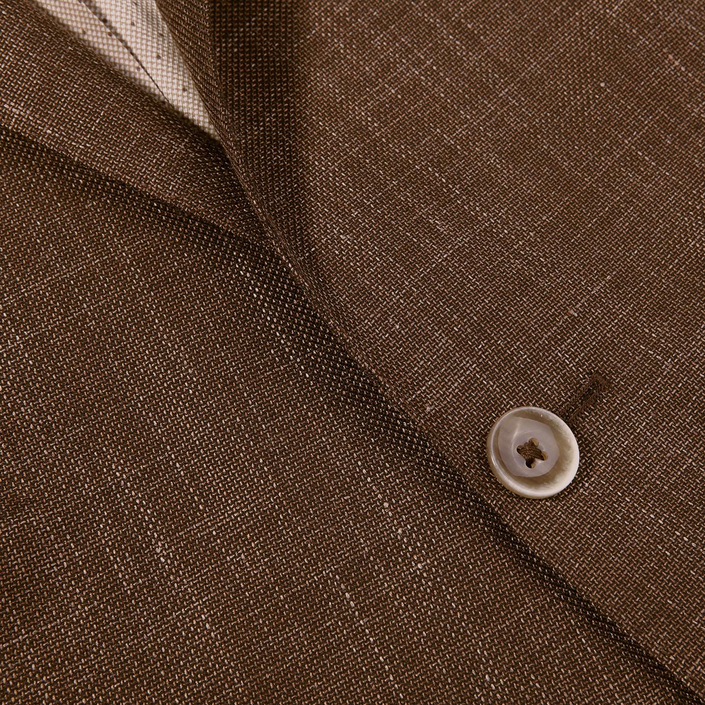 Eduard Dressler Brown Wool Silk Linen Sendrik Blazer Closed