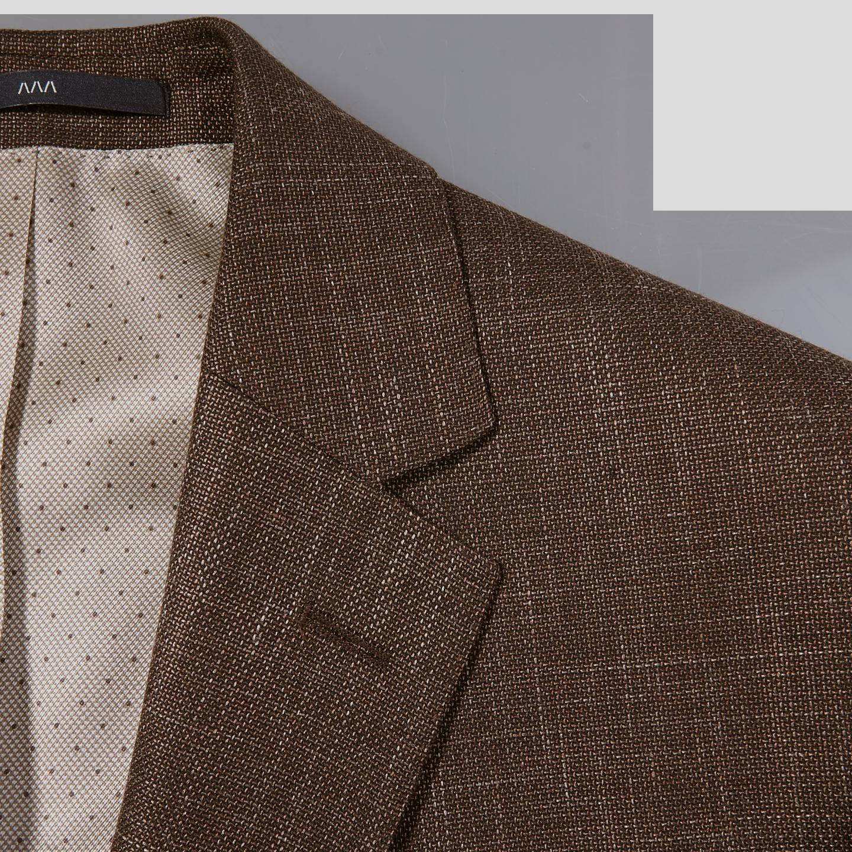 Eduard Dressler Brown Wool Silk Linen Sendrik Blazer Collar