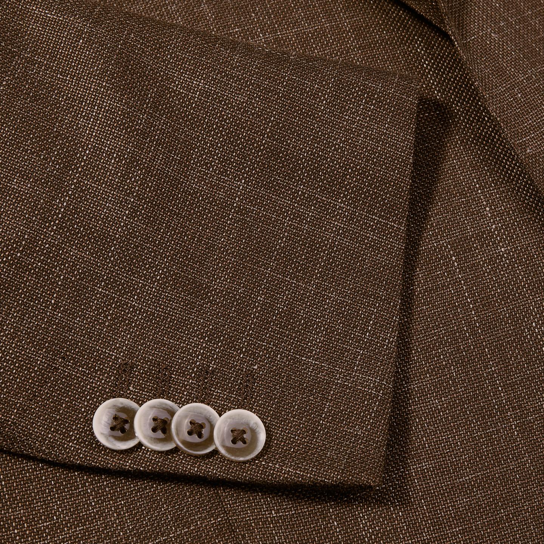 Eduard Dressler Brown Wool Silk Linen Sendrik Blazer Cuff