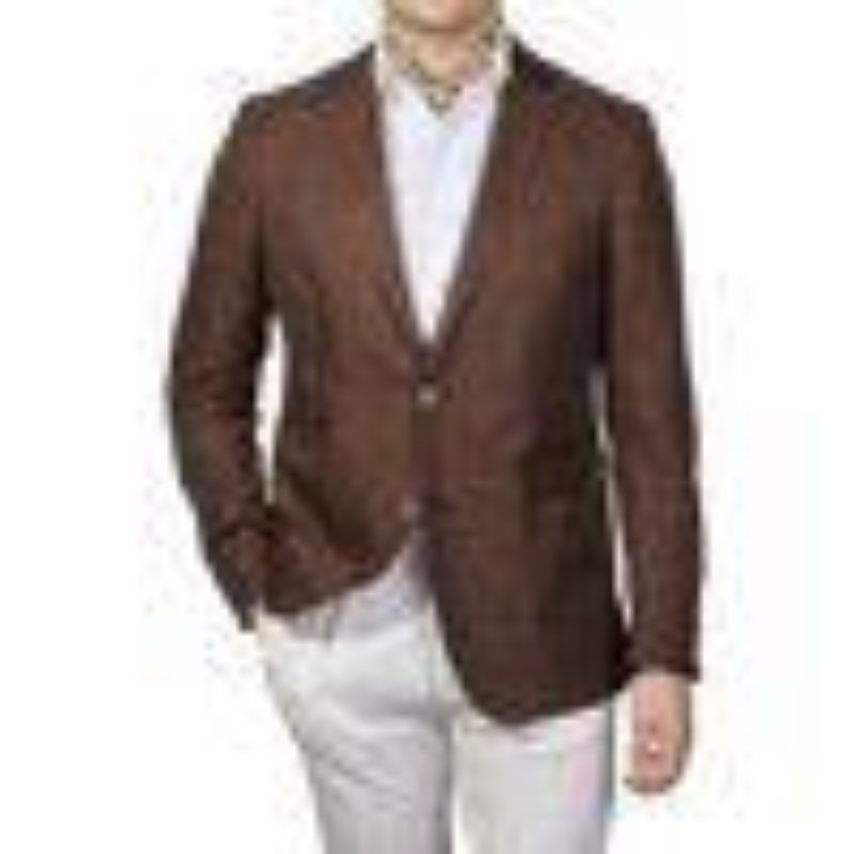 Eduard Dressler Brown Wool Silk Linen Sendrik Blazer Front