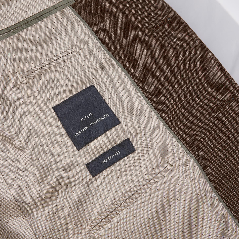 Eduard Dressler Brown Wool Silk Linen Sendrik Blazer Inside