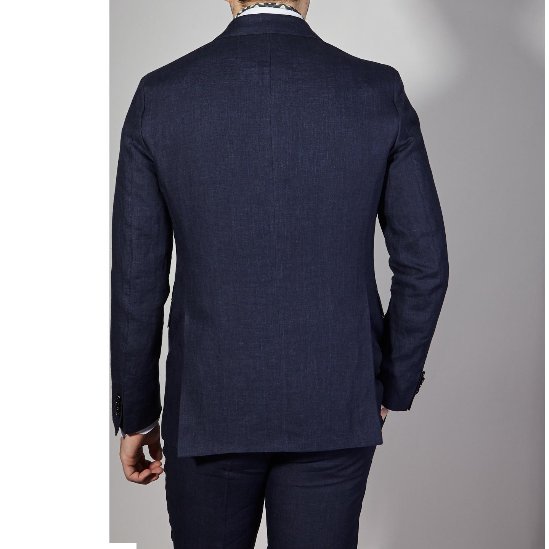 Eduard Dressler Navy Pure Linen Summer Suit Back