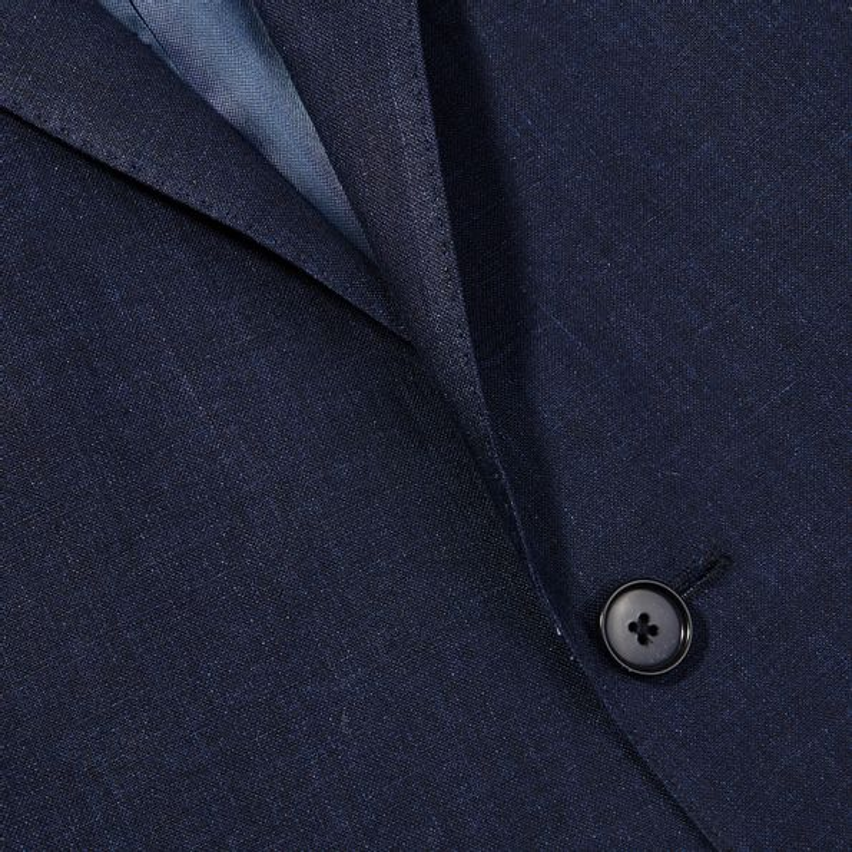 Eduard Dressler Navy Pure Linen Summer Suit Closed