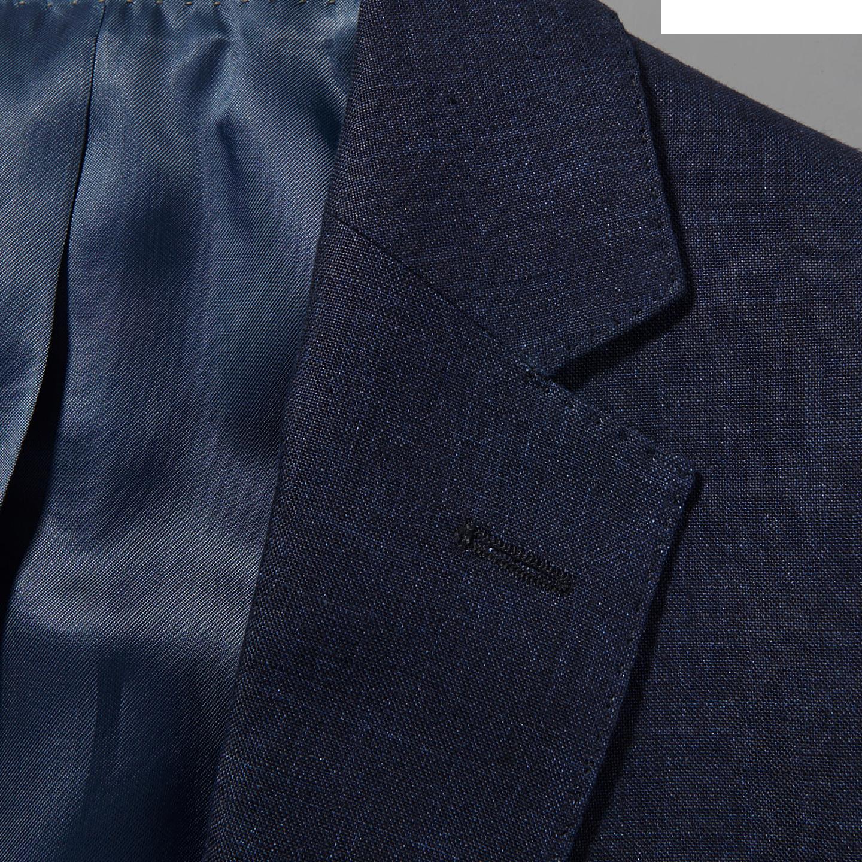 Eduard Dressler Navy Pure Linen Summer Suit Collar